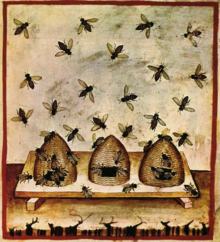 Künstlerische Darstellung von Bienenkörben im Mittelalter