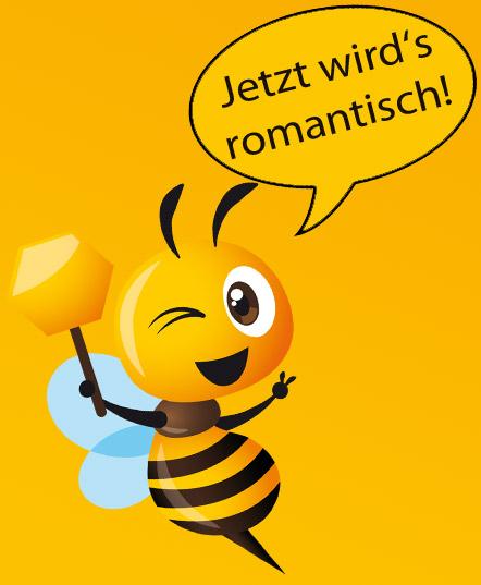 Comic-Biene kündigt Gedicht über Honig an und sagt: Jetzt wird's romantisch!