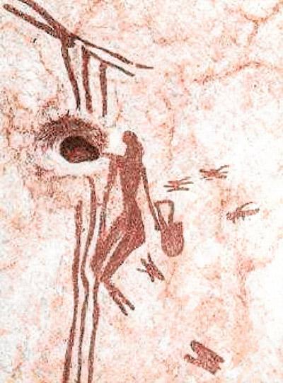 Höhlenzeichnung in Spanien vom Honigholen, ca. 12.000 Jahre alt